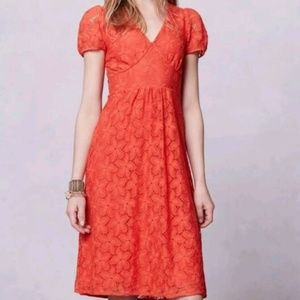 Anthropologie Leifnotes Dogflora Lace Coral Dress